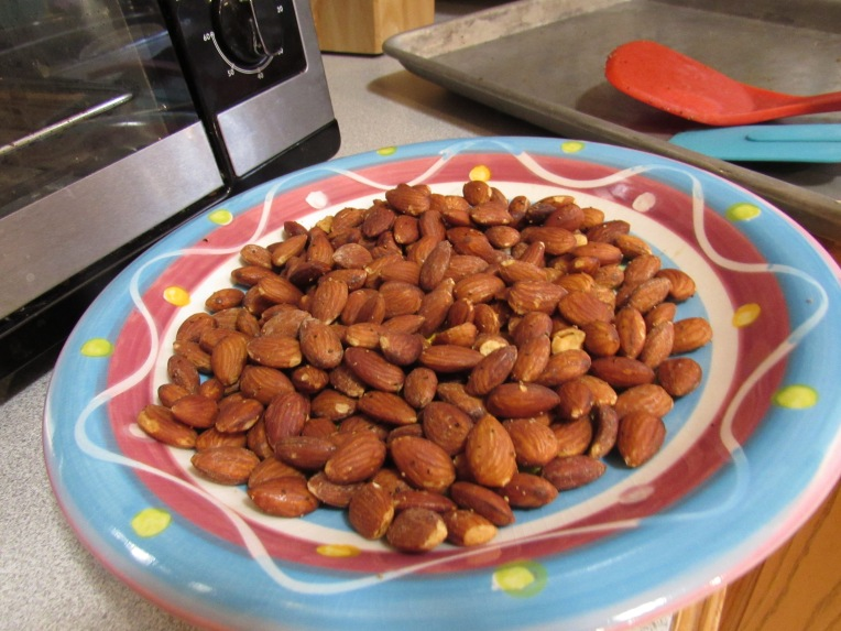Photo of plate of roasted almonds