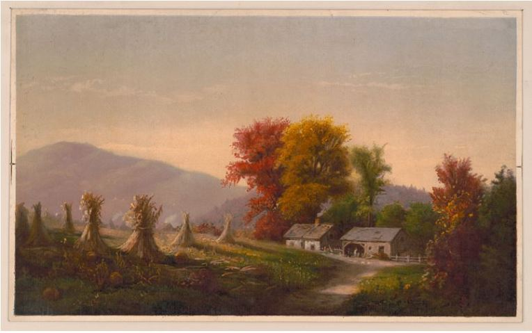 19th century color print of fall trees and hay stacks