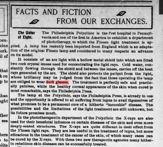 Newspaper clipping about early laser facials