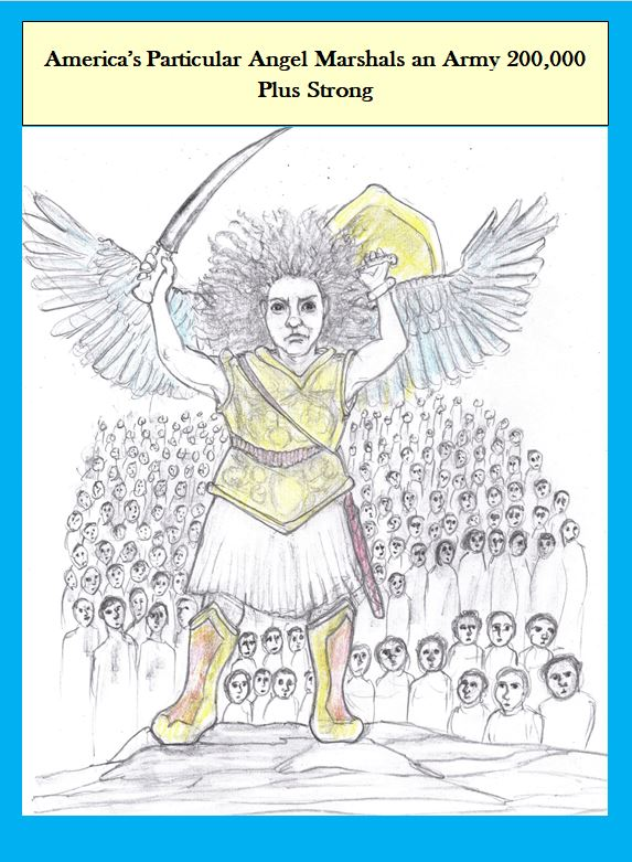 Cartoon of angel with army of victims