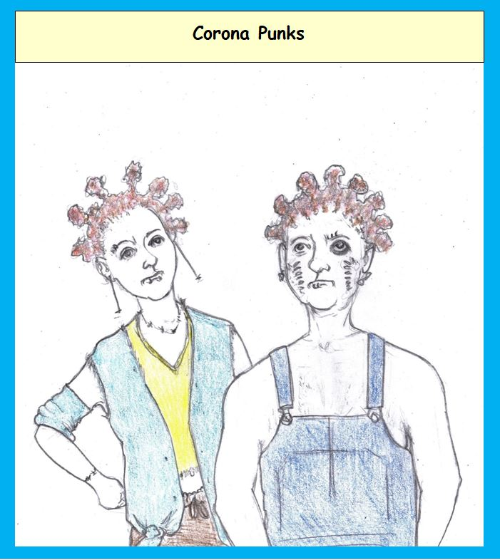 Cartoon of punks with corona hairstyle