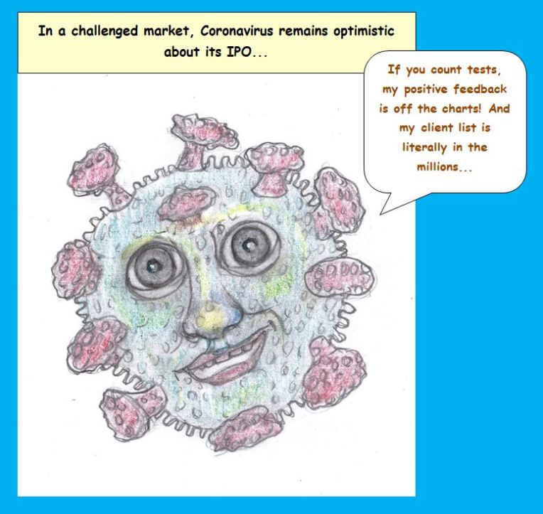 Cartoon of coronavirus looking forward