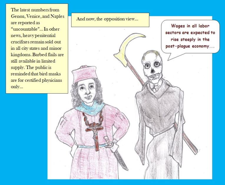 Cartoon of news during Great Plague