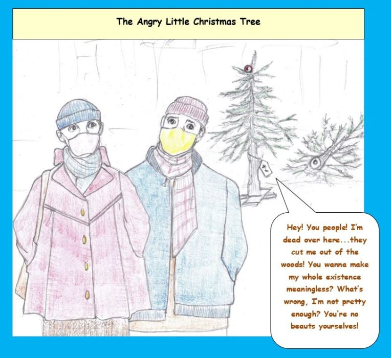 Cartoon of couple passing by Christmas tree