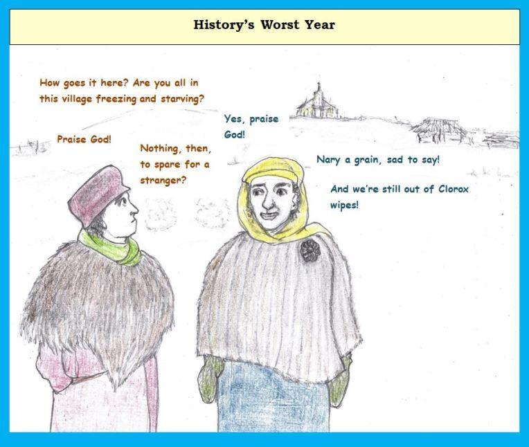 Cartoon of village during harsh winter